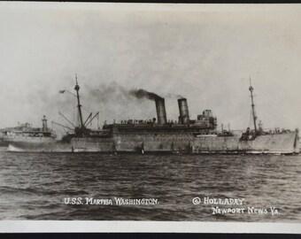 Real Photo Postcard Rppc WWI USS Martha Washington Troop Transport Ship 1919 Holladay Newport News VA