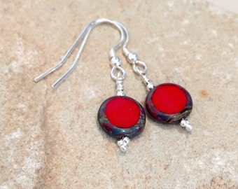 Red and silver drop earrings, Czech glass bead earrings, dangle earrings, sterling silver drop earrings, boho earrings, gift for her
