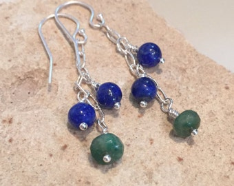 Blue and green dangle earrings, lapis earrings, jade earrings, sundance style earrings, sterling silver earrings, drop earrings gift for her