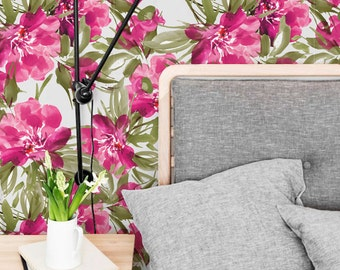 Watercolour Peonies Temporary Wallpaper, Wallpaper, Removable Wall Decals, Floral Wallpaper, Home Decor, 229