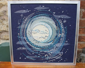 Moonrise - Mid Century Modernist Large Textile Embroidery Collage Framed Applique Art Picture