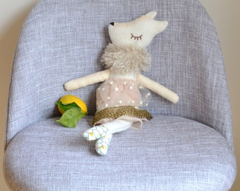 "Arctic fox decorative doll ""Célestine"" made with fabrics"