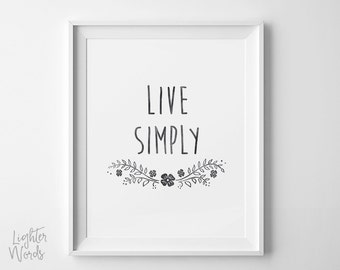 Live Simply art print, zen art, inpirational quote, Floral art, typography art, black, watercolor, printable, INSTANT DOWNLOAD