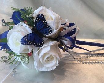 Wedding Flowers Flowergirl Wand Royal Blue