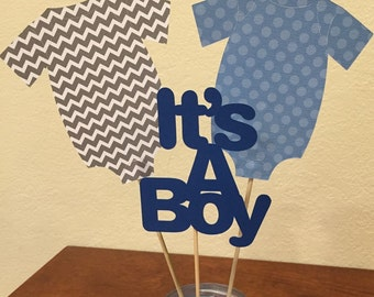 Boy Onesie Centerpiece, It's a Boy Centerpiece, Blue Onesie Centerpiece
