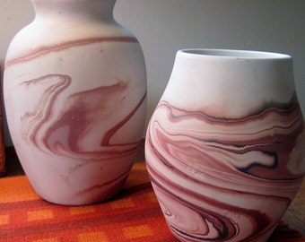 Nemadji and American Pottery Duo Beige Pink Rose