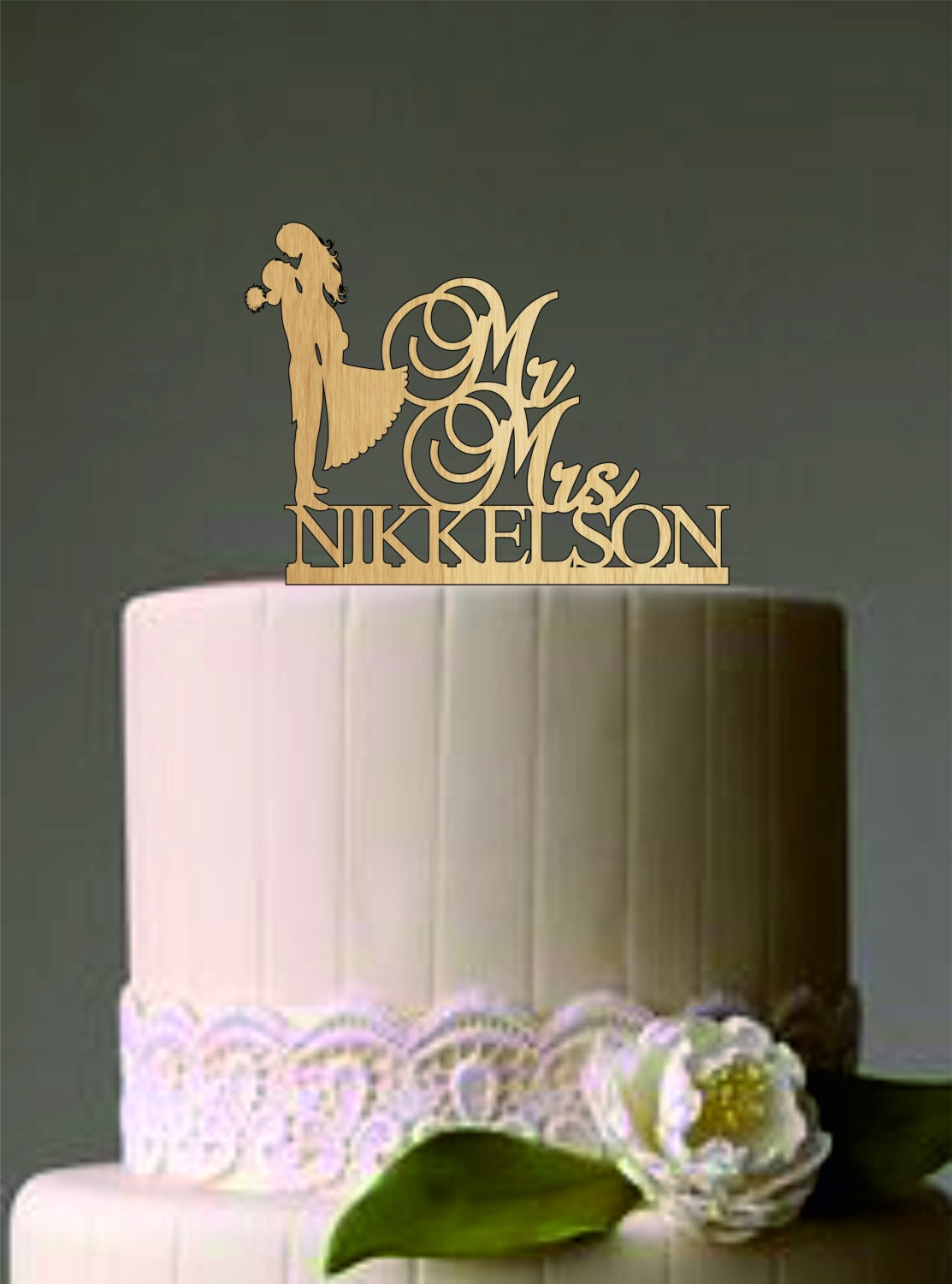 custom wedding cake topper Silhouette bride and groom