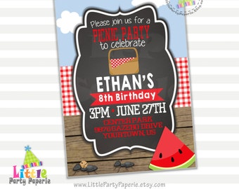 Picnic Birthday Invitation | Park Birthday | Summer Birthday | Digital | Printable | Design 16002