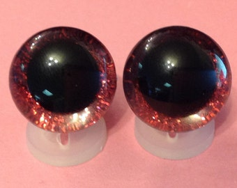 3D Red 16mm Safety Teddy Eyes with PLASTIC BACKS - Glitter Sparkle Animal Eyes for Teddy Bear Making