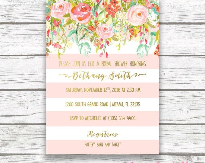 Pink and Gold Foil Floral Bridal Shower Invitation, Pink Stripe Wedding Shower Invite, Pink Coral Flower Striped, Printable Invitation