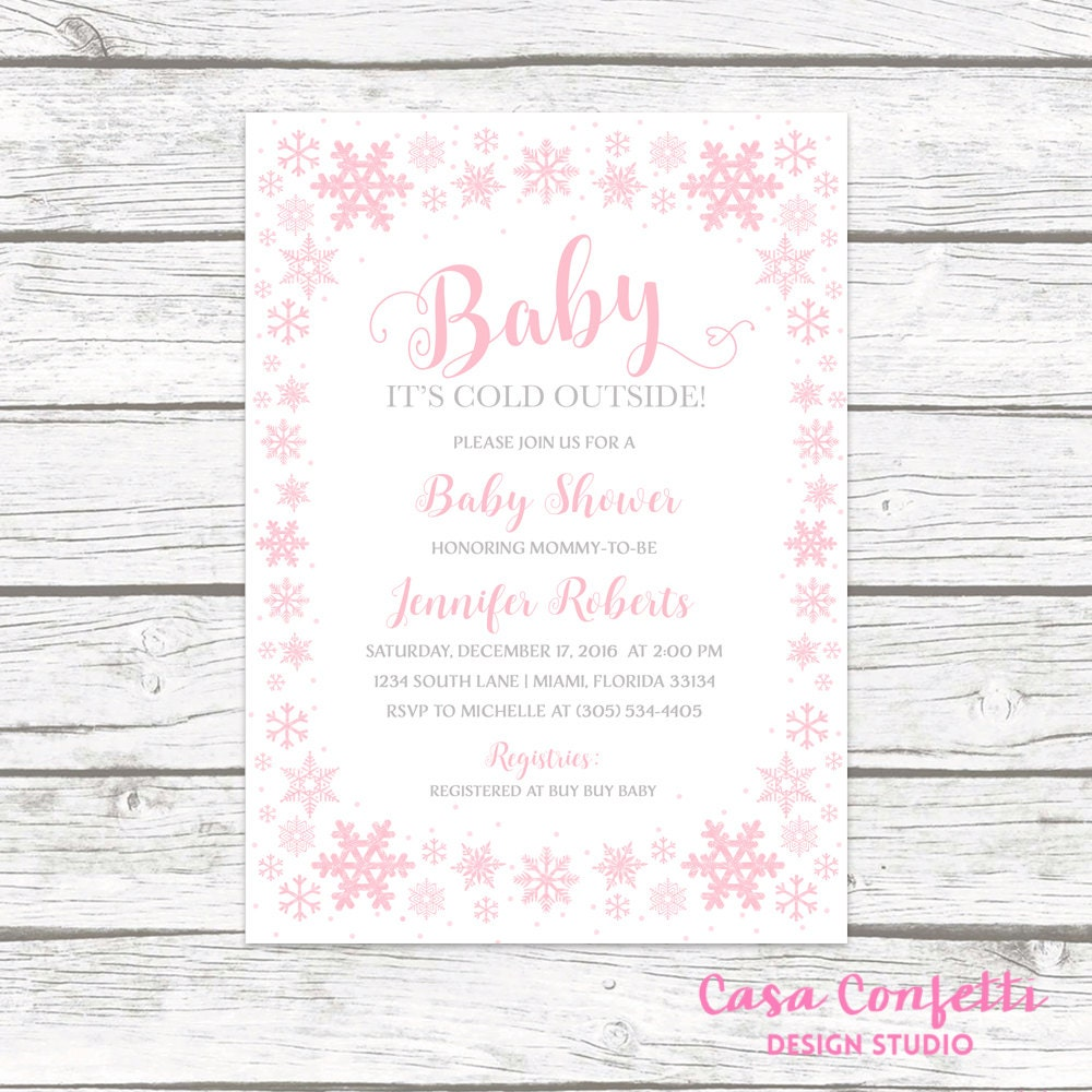 Baby It\'s Cold Outside Baby Shower Invitation Girl, Pink Snowflake ...