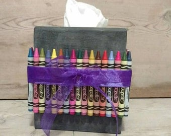 Back to School Décor, Teacher Gift, Classroom Décor, Crayon Tissue Box Cover, Crayon Decor, Chalkboard Tissue Box, Tissue Box Cover, Teacher