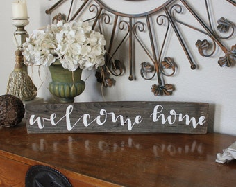 MADE TO ORDER - Reclaimed wood sign: welcome home - Home Decor