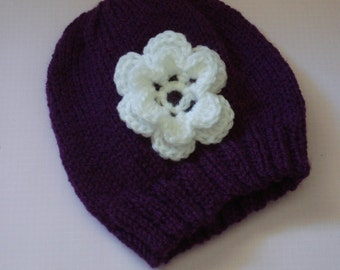 Deep Purple Baby Hat with White Flower suitable for Newborn to 6 months depending on size of Baby