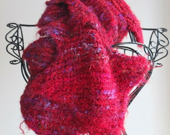 Handknitted Scarf, made with recycled rich red multi-coloured sari silk
