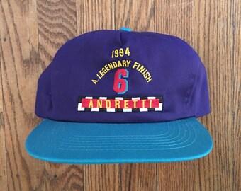 Vintage 90s Colorblock Mario Andretti Snapback Baseball Cap
