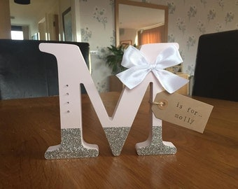 Personalised Freestanding Glitter Initial Boy Girl Letter Room Decoration