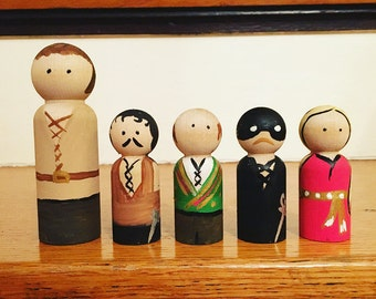 Princess Bride Wood Peg Dolls - Wood Toys - Kids Toys - Unique Gifts - Hand Painted Pegs