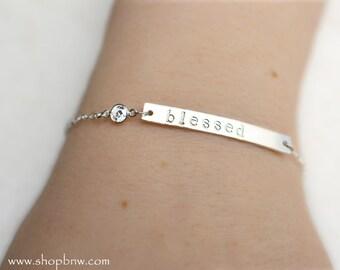 Personalized Bracelet / CZ Crystal Bracelet / Sterling Silver, Gold, Rose Gold / Delicate Bracelet / Layering Bracelet