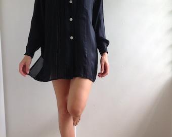 Vintage, 80's, Silk, Zen, Oversized, Button up, Blouse