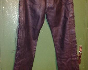 leather black biker pants with side ties vintage