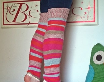 """Striped Gypsy World Traveling Bohemian Upcycled Sweater 28"""" Leg Warmers"""