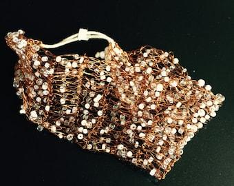 Copper Mesh Beaded Bracelet
