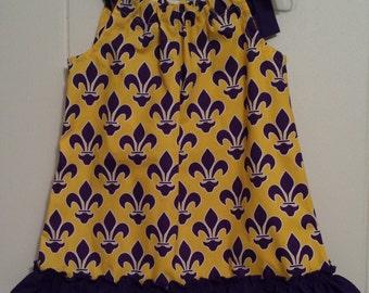 Little Girl's Yellow and Purple Fleur de Lis Pillowcase Dress Size 4T
