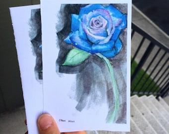 Purple Blue Rose Print on cardstock