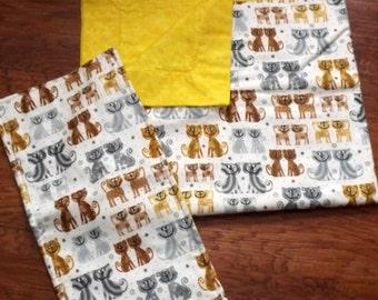 Yellow Baby Blanket and burp cloth  and  Stuff animal