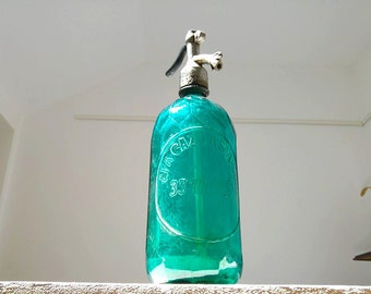 Antique Seltzer Bottle/ Soda Siphon/ Green mint / Faceted Bottle / twisted glass /Barware / Vintage / Country / Farmhouse
