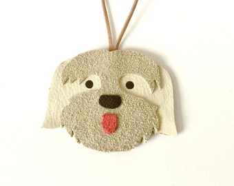 Lhasa Apso Dog Leather Ornament / Leather Lhasa Apso Charm  / Lhasa Apso Gift / Lhasa Apso Leather Pendant / Lhasa Apso Car Charm