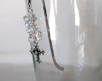 Cross and Crystal Beaded Bookmark, Christian Bookmark, Bible Bookmark, Sparkly Bookmark, Book Lover Gift, Bible Study Gift, Church Gift