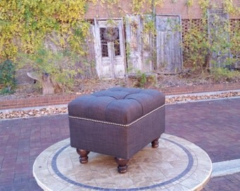 Charcoal Grey Upholstered Tufted Ottoman- Linen Ottoman- Brass Nailhead- Coffee Table Ottoman- Footstool~ Design 59 Furniture
