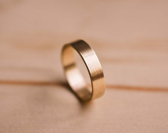 Brushed Solid Yellow Gold Wedding Band