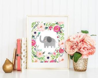 Elephant Printable Art, Nursery Art, Watercolor Flowers, Instant Download