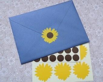 25 Sunflower Stickers, vinyl flower decals, sunflower wedding invitation, sunflower decor, floral removable wallpaper, sunflower favor
