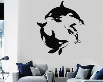 Wall Vinyl Decal Whale Ocean Sea Marine Decor For Bedroom 2232di