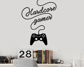 Wall Vinyl Decal Children's Room Decor Hardcore Gamer Computer Games Gaming Joystick Decoration (#1111di)