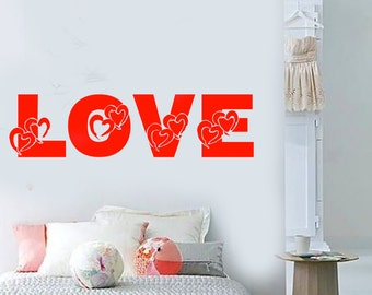 Wall Vinyl Decal Love Words in Hearts Symbols Of Love Quote Love Modern Abstract Home Art Decor (#1172dz)