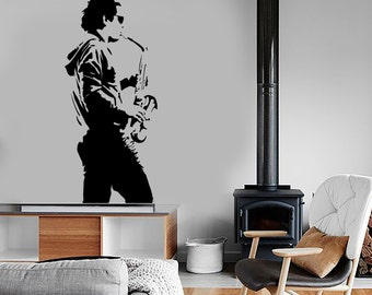 Wall Vinyl Music Man Playing Jazz Guaranteed Quality Decal Mural Art 1507dz