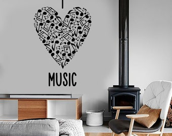 Wall Vinyl Music Heart With Notes Love Guaranteed Quality Decal Mural Art 1543dz