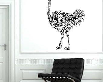 Wall Decal Ostrich Camel-Bird Ornament Tribal Mural Vinyl Decal1711dz