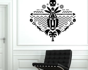 Wall Decal African Mask Symbol Skull Tribal Cool Mural Vinyl Decal 1723dz