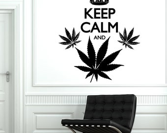 Wall Vinyl Words Funny  Marihuana Keep Calm And Smoke Weed Sticker 1790dz