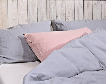 Linen pillow shams. Set of 2. Light gray or/and dusty pink. Hand made by LinenSky.