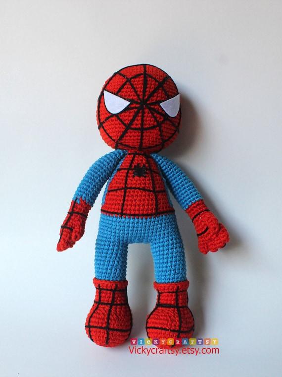 Handmade Crochet Spiderman Spiderman Plush Toy Stuffed Doll