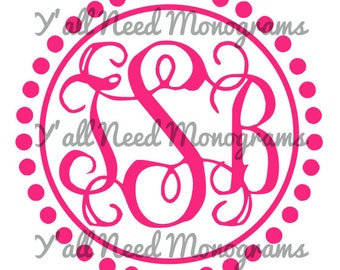 Monogram Decal with Circular Polka Dot and Line Design