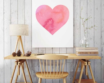 Watercolor Heart Print, INSTANT DOWNLOAD, Gift for Her, Pink Nursery Wall Decor, Printable Wall Art, Pink Girls Bedroom Decor, Nursery Art