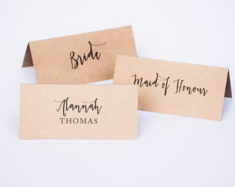 Wedding Folded Place Cards Kraft Placecards - Rustic Wedding Personalised Customised Place Cards